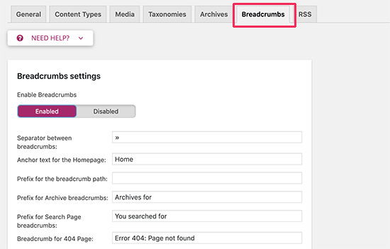 Setting up breadcrumbs in Yoast SEO