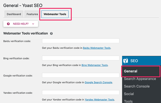 Verifying webmaster tools in Yoast SEO