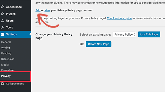 Edit privacy policy page