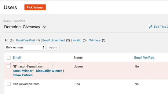 Email winner