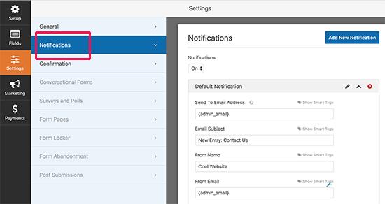 E-mailinstellingen voor formuliermeldingen