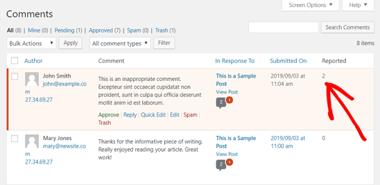 Reported Comment for Moderation in WordPress