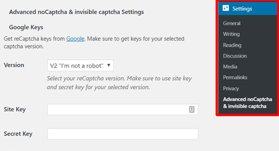 Advanced noCaptcha & invisible Captcha (v2 & v3) Settings