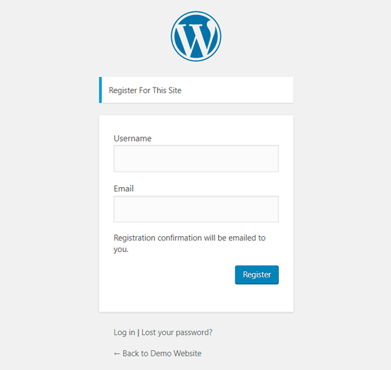Default WordPress User Registration Page