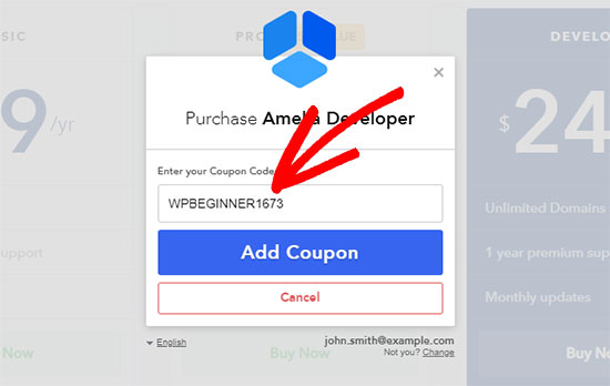 Type coupon