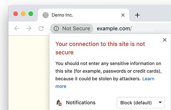 Unsafe HTTP site