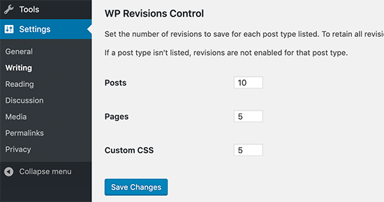 WP Revisions Control