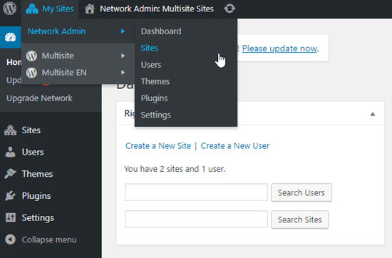 Network admin settings