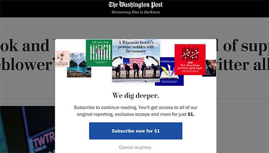Paywall on the Washington Post website