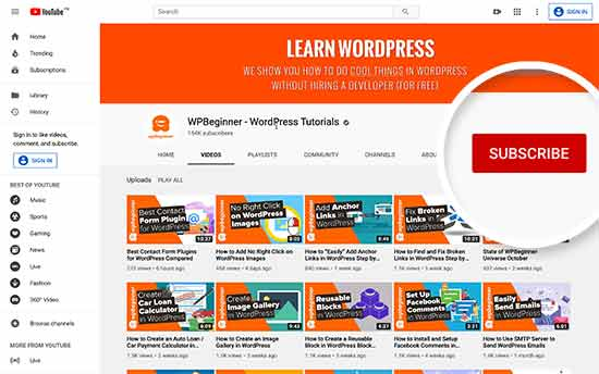 YouTube의 WPBeginner
