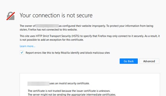 Connection not secure error in Google Chrome