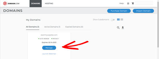domain.com manage button
