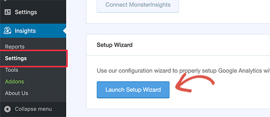 Launch setup wizard