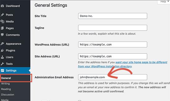 Cambia l'indirizzo email dell'amministratore