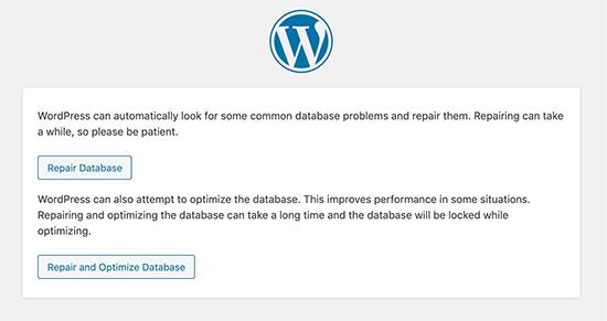 Ripara il database di WordPress
