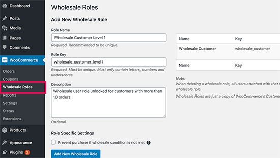 Wholesale user roles