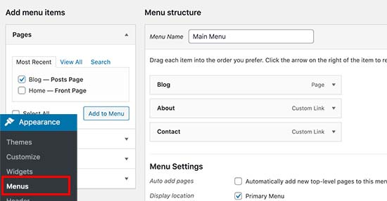 Aggiunta del collegamento alla pagina del blog al menu di navigazione