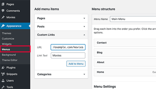 Add post type to your navigation menu