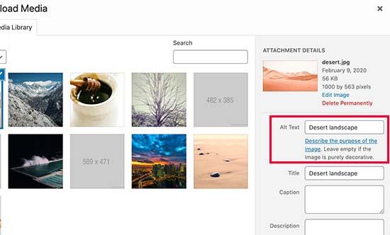 Menambahkan teks alt dan judul ke gambar di WordPress