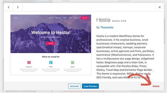 Eliminazione di un tema WordPress tramite la dashboard di amministrazione di WordPress