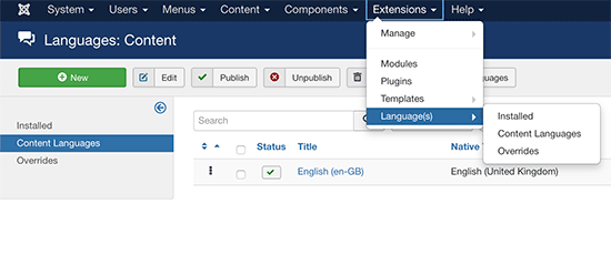 Adding language support in Joomla