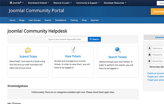 Joomla support forum