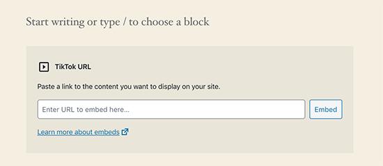 WordPress 5.4'te TikTok gömme bloğu