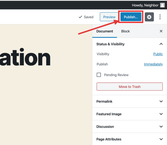 salva la tua pagina WordPress