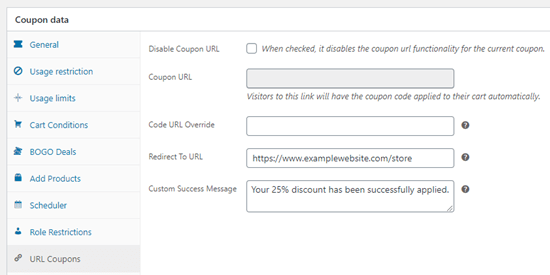 Entering the details for your auto-apply coupon in Advanced Coupons