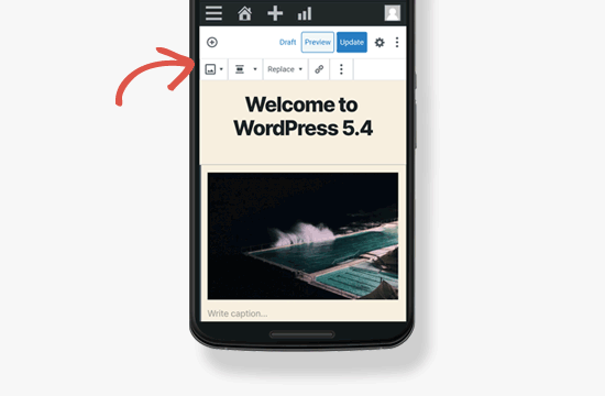 Mobile toolbar in WordPress 5.4