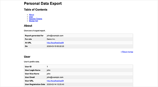Personal data export file
