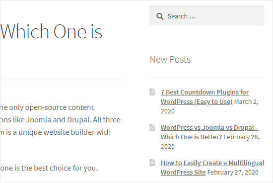 The recent posts displaying in the sidebar on the blog