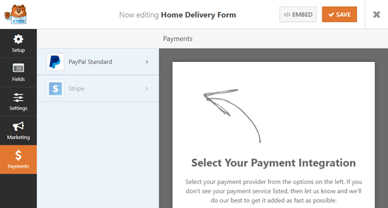 Select the payment service(s) to integrate with your form
