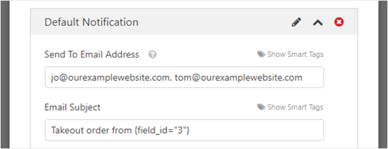 Change the email subject line for your notification