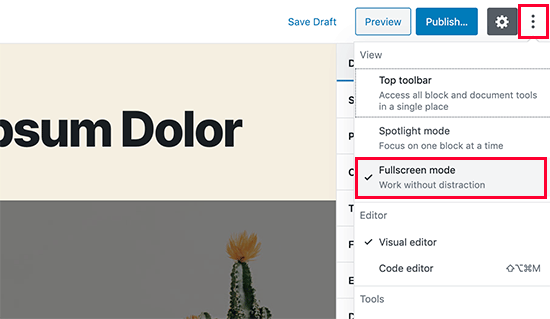 Turn off fullscreen mode in WordPress