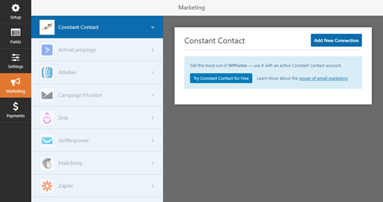 Integrating WPForms with an email marketing service