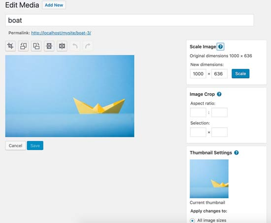 Funzionalità di modifica delle immagini di WordPress