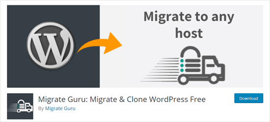 O plugin Migrate Guru para WordPress