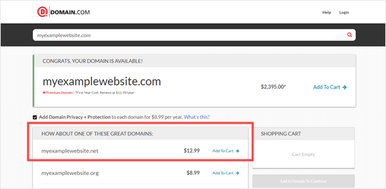 The .net domain is being promoted as an alternative to the .com one