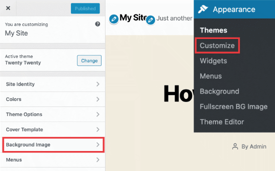 Background image option in WordPress theme customizer