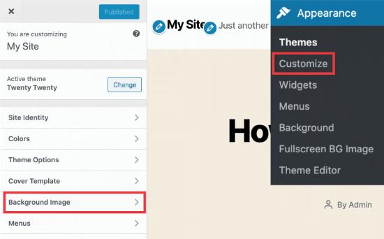 Achtergrondafbeeldingoptie in WordPress-thema-aanpasser