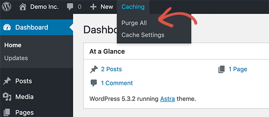 Clear cache in Bluehost