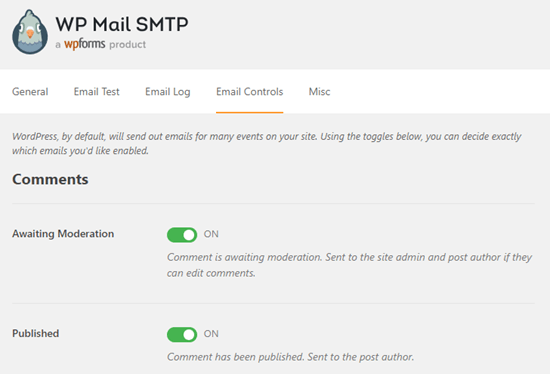 WP Mail SMTP email notification controls