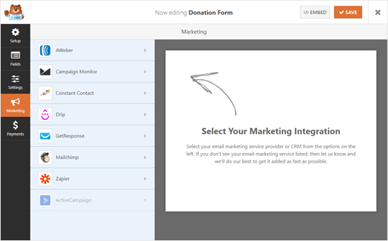 WPForms marketing integrations
