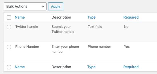 Visualizza tutti i campi del profilo personalizzato