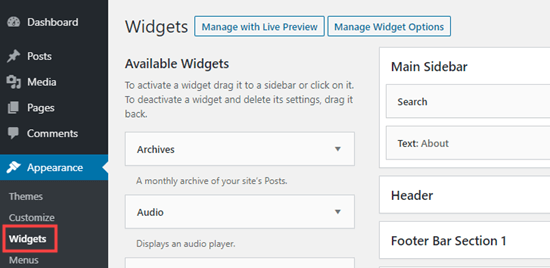 The widgets section of the WordPress admin