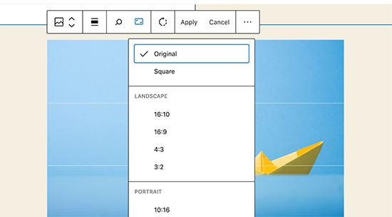 Modifica delle immagini incorporata in WordPress 5.5