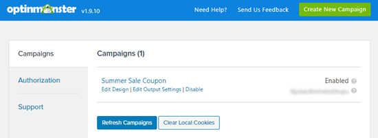 Your WooCommerce popup should now appear in your list of campaigns