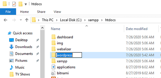 Rename WordPress folder