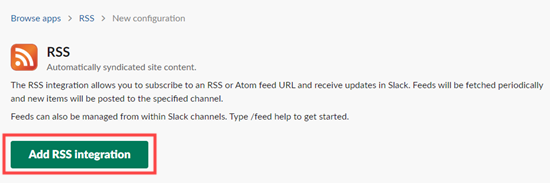 Click the button to continue setting up the RSS integration